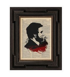 Abraham Lincoln Vampire Blood Original Art Print on an Antique Upcycled Bookpage.