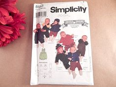Baby Clothes Sewing Pattern Uncut Simplicity 8453 Bobbi's Babies NB - 18 months