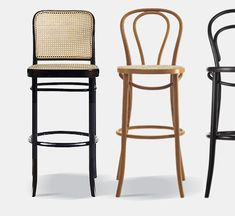 As was already the case with chairs no. 14 and no. 18 , Thonet developed a modular system in the founding years that allowed him to cover all chair models , and so on. for example, to realize the elegant bar stool shown here.