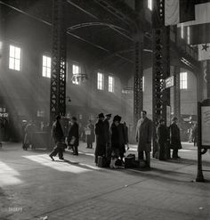 "January 1943. ""Chicago, Illinois. Waiting for trains in the concourse of the Union Station."" Photo by Jack Delano, Office of War Information."