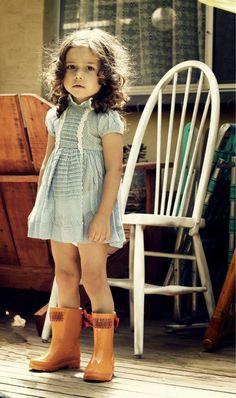 Orange Timber & Tamber Rain Boots - gumboots - pumpkin - bow - spring - blue dress - child - girl