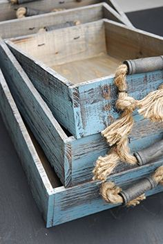 Vintage Rustic Wooden Crate Trays with Rope Handles- Set of 3 - Pirate Home Deco. Wood Crates, Wood Tray, Wood Boxes, Wood Pallets, Home Deco, Wood Box Decor, Pallet Tray, Vintage Crates, Diy Wood Projects