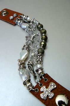 Three Strand Biker Bracelet with Freshwater Pearls, Pyrite, Quartz, and Brown Leather, and Rhinestones