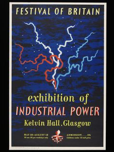 The Exhibition of Industrial Power in Glasgow was organised by the Scottish Committee of the Festival Council to showcase British inventiveness and its global impact. The chief architect of the exhibition was Basil Spence, who recruited leading designers to interpret the themes of power, engineering and the atom-driven future. Mount's design combines the red, white and blue colour-scheme seen throughout the Festival with a dramatic motif of lightning.