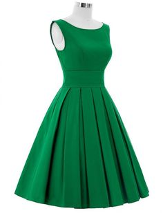1950s Vintage Style Elegant Pleated Swing Dress - Green