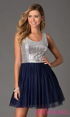 Sleeveless Sequin Navy Blue Dress by Bee Darlin at PromGirl.com