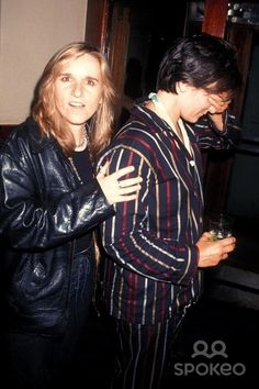 Melissa Etheridge and k. d. lang backstage at Lifebeat's The Beat Goes On, a benefit concert for AIDS in 1994.
