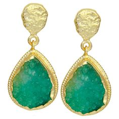 Brass teardrop earrings with 18-karat gold plating and green druzy quartz stones.  Product: Pair of earringsConstruction ...