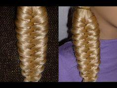 """Прическа """"Необычная коса"""" на каждый день: в школу, на работу для средних и длинных волос - YouTube"""