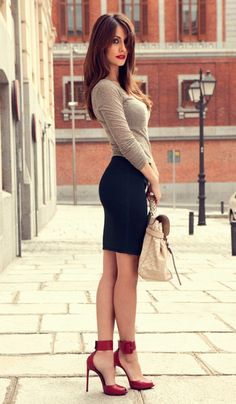 Love everything about this...the outfit, the model, the body, the legs, the heels. Well done.