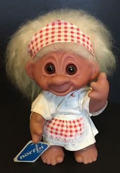 """HTF 9"""" Dot The Waitress Norfin Dam Troll Doll With Original Tag 1977 #Dam #DollswithClothingAccessories"""