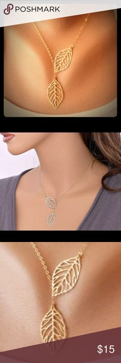 """Leaf drop necklace Chain goes from 16-20"""". Jewelry Necklaces"""