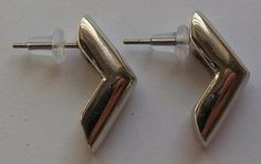 Monet Signed Silver Tone Earrings by onetime on Etsy, $4.25