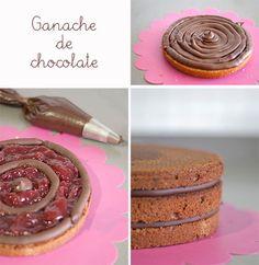 Ganache de chocolate para rellenar tartas.