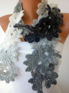 Gray  Queen Anne's Lace Scarf   Angora  Gray Grey Tones  by anils, $45.00