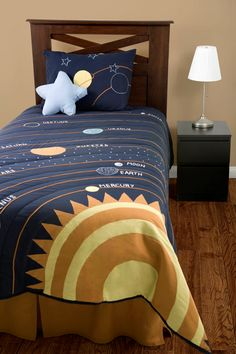 Solar System Bedding Outer Space 4pc Full/Queen Comforter Set Navy Blue Yellow with Star Pillow