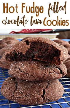 These soft and tender chocolate cookies have a surprise of gooey hot fudge waiting on the inside. If you like lava cake, you'll love Hot Fudge Filled Chocolate Lava Cookies. They just might be my new (Favorite Cookies) Mini Desserts, Cookie Desserts, Just Desserts, Delicious Desserts, Dessert Recipes, Hot Fudge, Lava Cookies, Yummy Cookies, Fudge Cookies