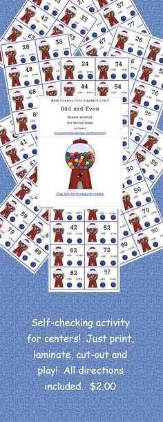$2.00   Great to play these last days of school!  Reinforce learning odd and even numbers with this cute gumball activity!