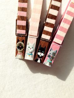 CAT CLOTHESPINS hand painted magnetic pink and brown stripes siamese grey kitty white cat by SugarAndPaint on Etsy