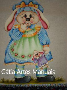 Catia Artes Manuais: PASSO A PASSO PINTURA EM TECIDO COELHA COUNTRY