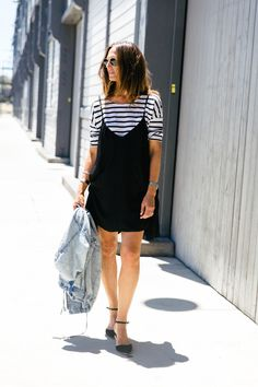 Tee layered under a slip dress - surprisingly awesome combo.