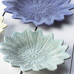Lace Pottery by Maggie Weldon Starburst Bowl - Medium  Pottery is crafted using doilies as a pattern....Gorgeous...