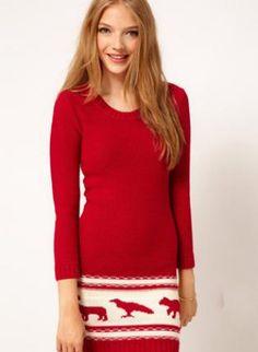 X'mas Red  Animal Print Knitted DressS008410,  Dress, X'mas Red  Animal Print Knitted Dress, Chic