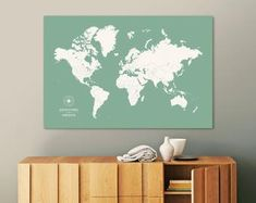 This item is unavailable Large World Map Poster, Framed World Map, World Map Canvas, World Map Wall Art, World Map With Pins, Travel Crafts, Thing 1, Custom Map, Travel Maps
