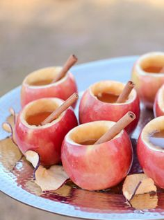 Cider in apple cups with cinnamon stick straws. Love this! :)