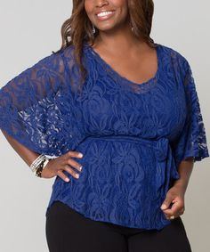 Another great find on #zulily! KIYONNA Royal Blue Tie-Waist Ethereal Cape-Sleeve Top - Plus by KIYONNA #zulilyfinds