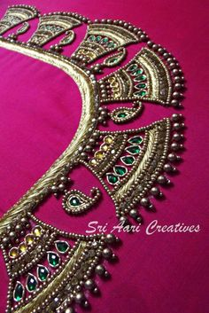 For orders contact Sri Aari Creatives - 9842995293 Wedding Saree Blouse Designs, Saree Blouse Neck Designs, Velvet Saree, Maggam Work Designs, Simple Blouse Designs, Designer Blouse Patterns, Couture Embroidery, Ideas, Vestidos