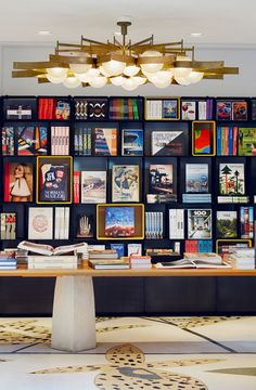 Taschen& first store in Italy opens in Milan: The chandelier on the ground floor is by Gio Ponti, commissioned by the Hotel Parco dei Principe. Retail Interior, Interior Exterior, Best Interior, Interior Paint, Gio Ponti, Commercial Design, Commercial Interiors, Hotel Boutique, Sculptures