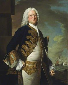 Admiral John Byng (1704–57), Admiral of the Blue by Thomas Hudson, 1749 Oil on canvas, 127 x 101.6 cm Collection: National Maritime Museum A three-quarter-length portrait to the right, in flag officer's full-dress uniform of 1748–1767.  Naval officers' uniform was only introduced in 1748 and this portrait is a good example showing the first flag officer's full dress pattern.