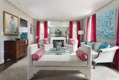 10 Salas de estar elegantes e alegres em tons rosa
