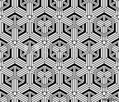 Contrast black and white symmetric seamless pattern with interwe