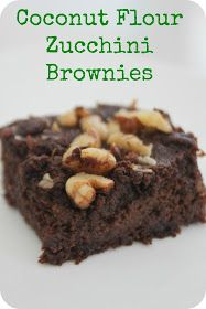 brownie, dark chocolate, zucchini, coconut flour, walnuts......just made these and they are great. Next time I will squeeze out zucchini to lessen the moisture content.
