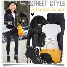 Street Style: Julianne Hough by elske88 on Polyvore featuring H&M, J.Crew, MICHAEL Michael Kors, Boohoo, JULIANNE, StreetStyle and motojacket