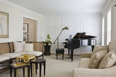 Textured wall. #grand #piano #white #living #room