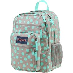 Jansport Big Student Grey Rabbit Sylvia Dot Backpack ($46) ❤ liked on Polyvore featuring bags, backpacks, dot backpack, jansport backpack, gray backpack, padded bag and jansport rucksack
