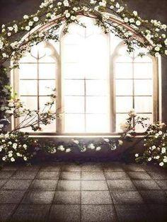 Flowers Window Backdrops for Photographers Wedding CM-6560