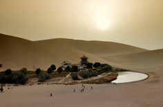 For thousands of years pilgrims and traders on the Silk Road to the West have used the Crescent Lake oasis as a last stop off before they face the hardships of the Gobi Desert.