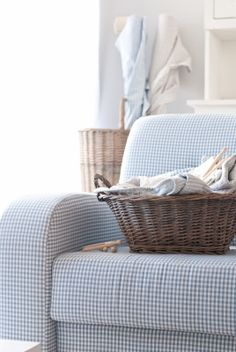 Here ya go, Rachel. Just another basket of folding to do when you get your wits together! Country Blue, French Country Cottage, White Cottage, Cozy Cottage, Cottage Style, Country Decor, Country Homes, Minty House, Blue Gingham