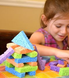 Sponge blocks from 10 Amazing Toys You Can Make For Your Kids. Inner Child Fun.