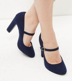 Navy Comfort Suedette Block Heels | New Look
