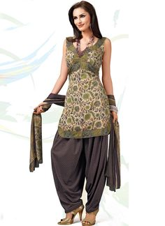 Cream Flora Printed Crepe Salwar Suit