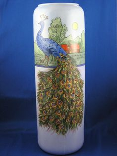 Large Epiag Czechoslovakia Arts & Crafts Peacock Motif Vase (c.1918-1936)