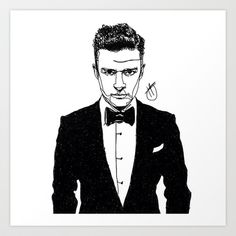 Justin Timberlake Art Print by Hollie B - $15.00