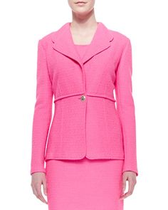 B2V11 St. John Collection Crinkled Twill Single-Button Blazer, Electric Pink