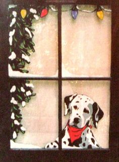 Christmas Dalmation Painted Window Dog Art Pet Loss by petzoup, $130.00