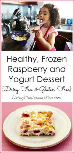 This healthy, frozen raspberry and yogurt dessert recipe is dairy-free and gluten-free; part of the Kids' Kitchen monthly series.